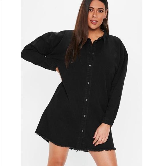 MISSGUIDED Plus Size Black Denim Shirt Dress